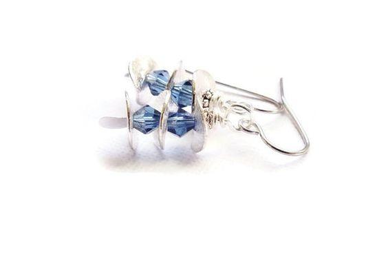 Blue Earrings Blue Swarovski Earring Dangles Surgical by harmony5