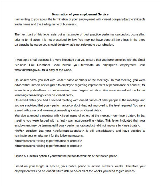 service termination letter templates free sample example - employee termination letter