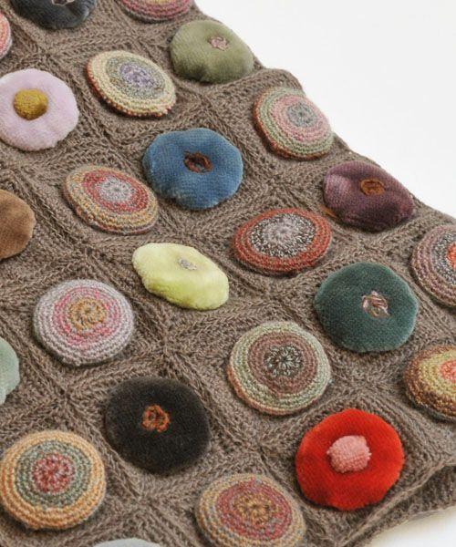 Sophie Digard crochet - BISCUIT POP VELOURS MERINO WOOL SCARF / BROWN