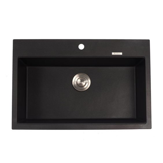 """$269 Buy the Kraus KGD-412B Black Onyx Direct. Shop for the Kraus KGD-412B Black Onyx 31"""" Single Basin Dual Mount (Drop In or Undermount) Granite Composite Kitchen Sink and save."""