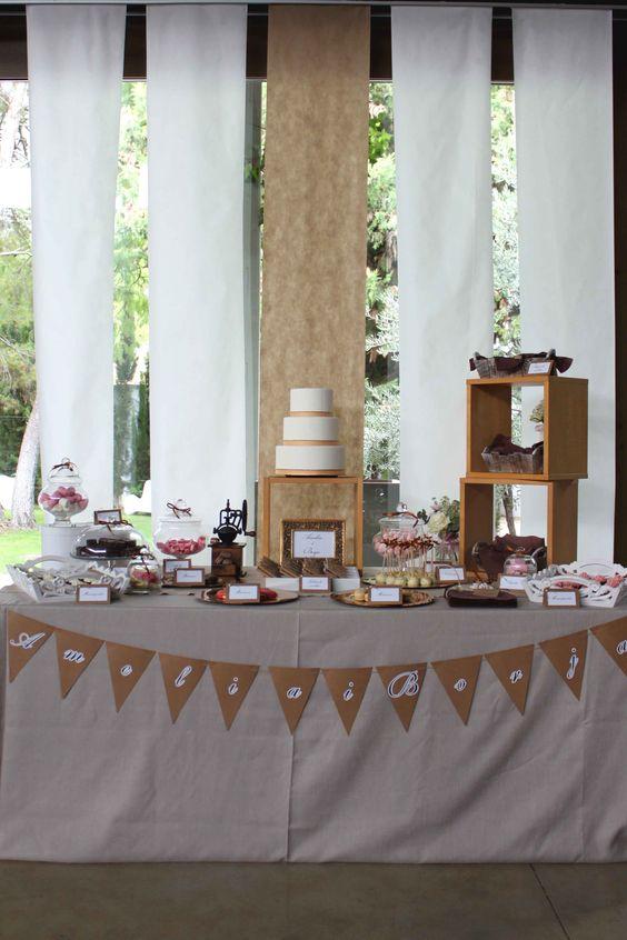 Decoracion Bautizo En Jardin ~ Mesa dulce para una boda r?stico chic, en blanco, craft y dorado