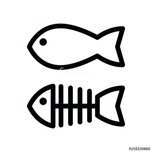 Cartoon Fish Outline Fish And Skeleton Simple Vector Icon Black And White Illustration Of Fish Bones Outline Cartoon Fish P Fish Outline Fish Graphic Fish Icon