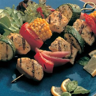grilled chicken vegetable kabobs- and lots of other McCormick recipes for grilling!