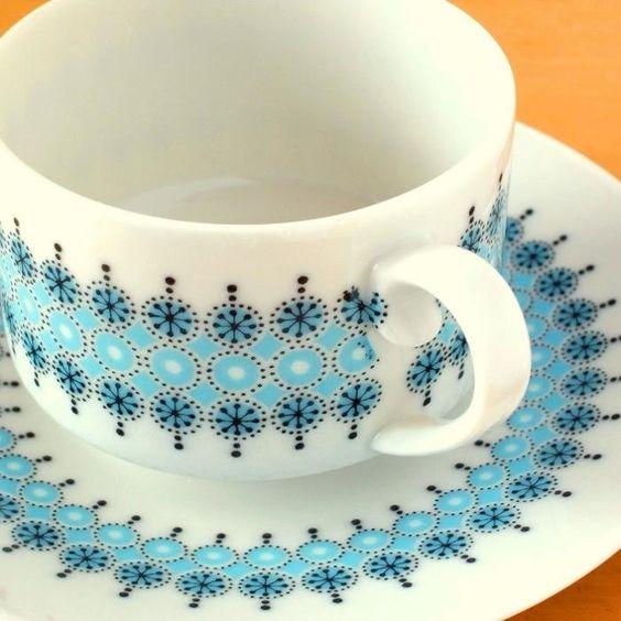 北欧アンティーク食器水色のティーセット