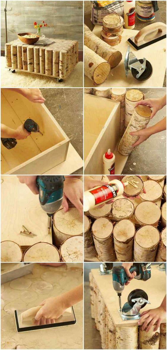 Anleitung zum Bau eines Birkenstamm Couchtisches