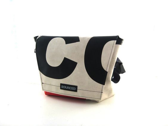 Messenger Bag made from upcycled Truck Tarpaulins ..for all the things you need