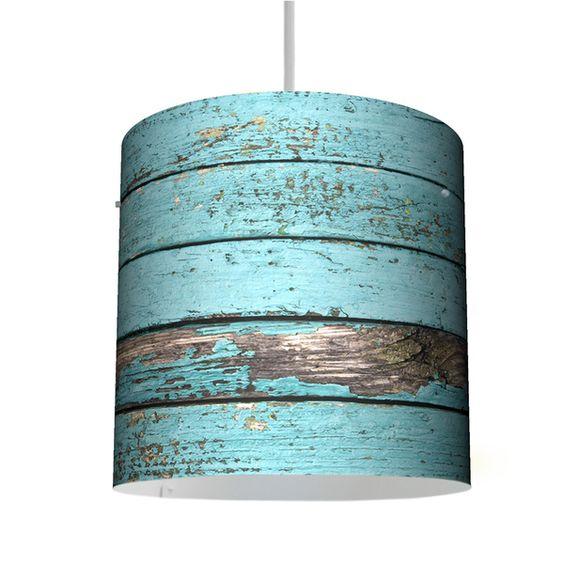 Hängelampen - Deckenleuchte 26cm mit Motiv Blaue Holzlatten - ein Designerstück von banjado bei DaWanda