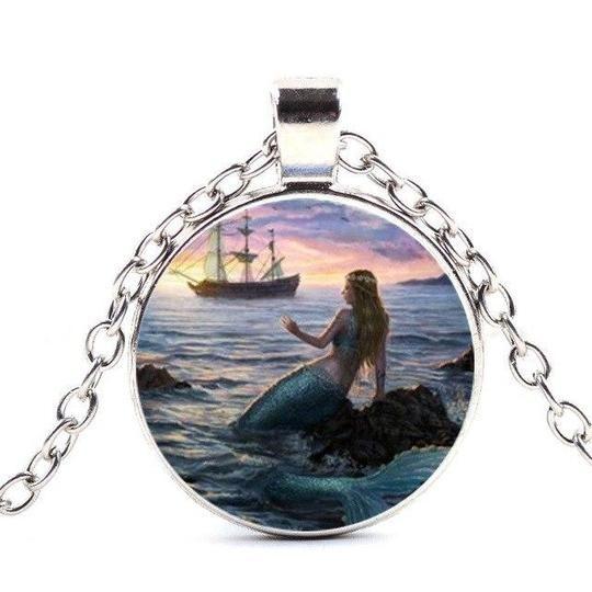 Vintage Sea Mermaid Cabochon Tibetan silver Glass Chain Pendant Necklace
