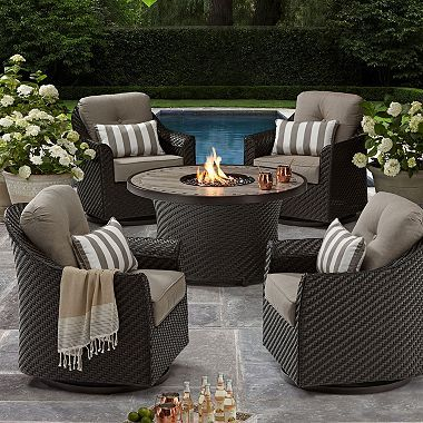 Member S Mark Agio Heritage 5 Piece Outdoor Fire Pit Chat Set With Sunbrella Fabric Outdoor Patio Decor Outdoor Patio Furniture Sets Patio Decor