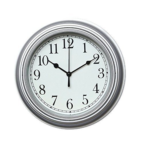 Foxtop Minimalist Wall Clock Non Ticking Digital Quiet Sweep 10 Inches Home Decor With Slight Ticking Round Vintage Resin Wall Clocks Black Number Silver Ho Minimalist Wall Clocks Vintage Wall Clock Wall