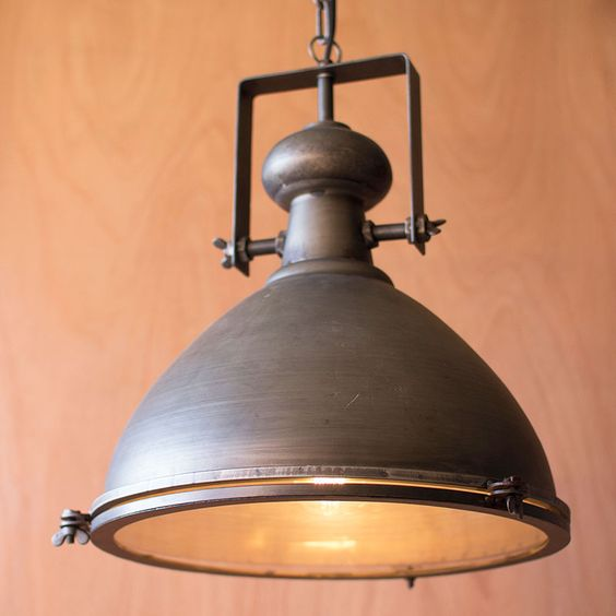 Rustic metal glass pendant i would take for Rustic industrial kitchen lighting