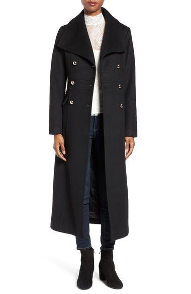 Eliza J Wool Blend Military Long Coat - Size 4