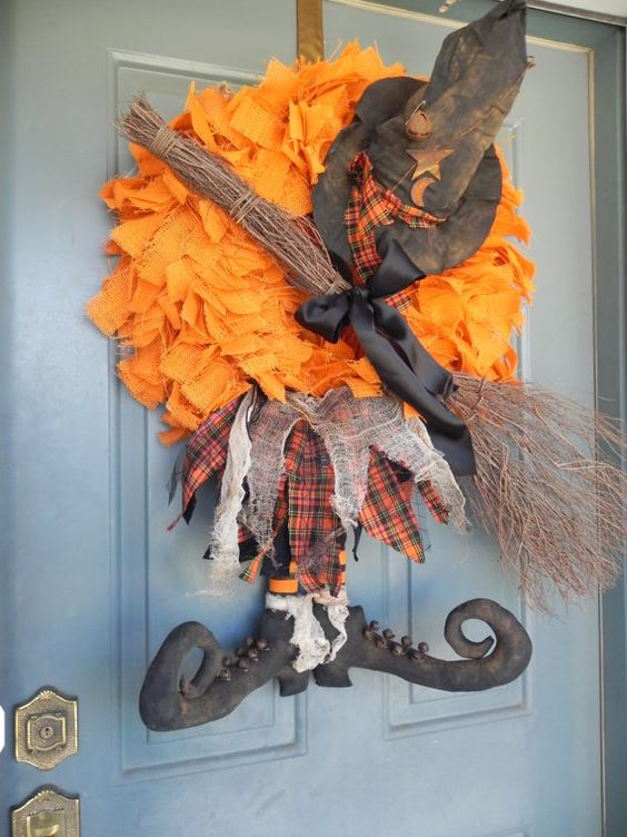 Burlap Halloween Witch Wreath - Customize your wreath - Large 24'' Wreath plus add ons