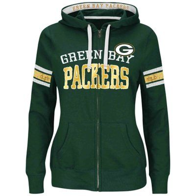 Majestic Green Bay Packers Women's Green Red Pure Heritage VI Full Zip Pullover Hoodie