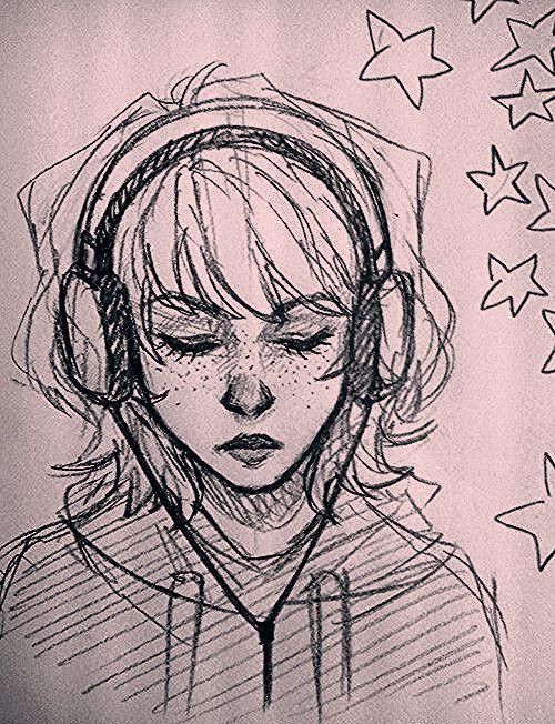 Art Sketches Girl Deviantart In 2020 Sketches Headphones Art Drawing Sketches