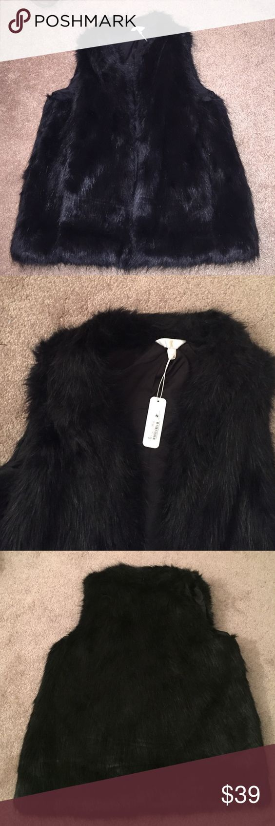 NWT BLACK FUR VEST so chic and affordable. Similar ones sell for hundreds of dollars! Faux black fur. Looks elegant with a turtleneck or even layered over a leather jacket! Acrylic/polyester/modacrylic. Never worn and new with tags. Charming Charlie Jackets & Coats Vests