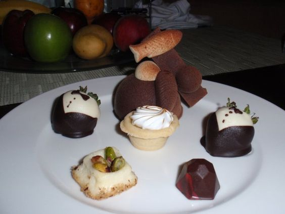 Delicious chocolate plate delivered to our room every night.