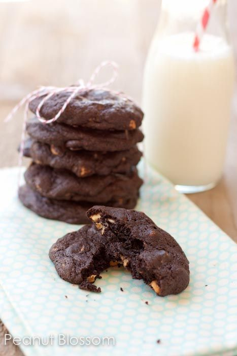 chocolate peanut butter chip cookies This is my husband's all-time favorite cookie that I've made for him.