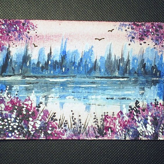 aceo original fantasy landscape by teabreaks on Etsy, $5.00