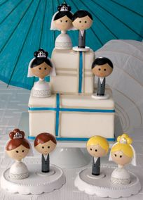 Kokeshi Inspired Mix and Match Cake Topper, Style A91019 #davidsbridal #weddings #caketopper