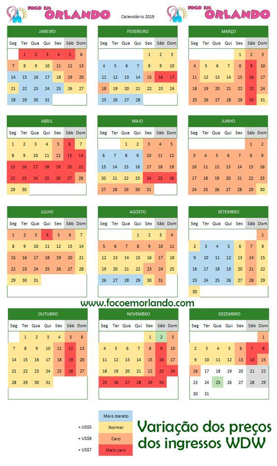 Variação dos preços da Disney World, segundo o site oficial. Use este calendário como uma prévia do nível de multidão dos parques.
