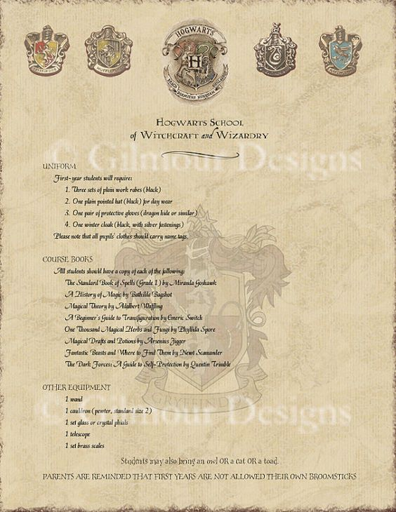 Harry Potter Hogwarts Acceptance Letter Printable With