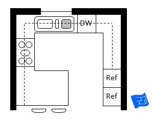 G shaped kitchen layout with eating counter g shaped for 9x9 kitchen layout