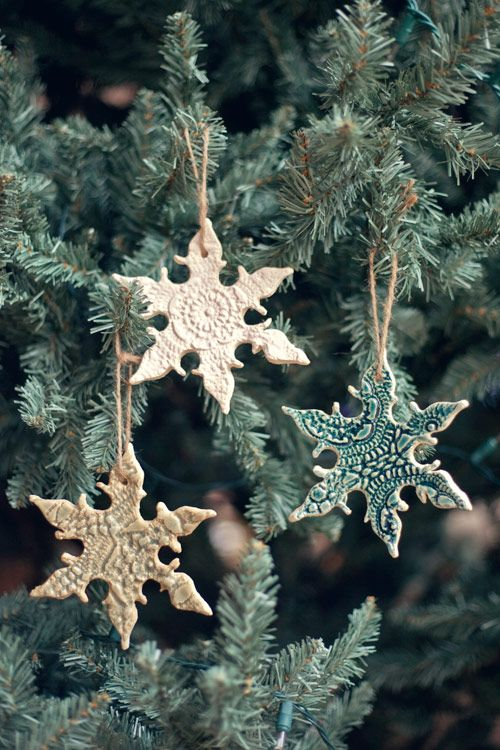 DIY Lace Snowflake Ornaments | These were about as easy to make as sugar cookies. I just rolled some clay into a slab, pressed a crochet doily into it, and cut out snowflakes with a cookie cutter. I punched holes in the tops of each flake with a plastic straw.