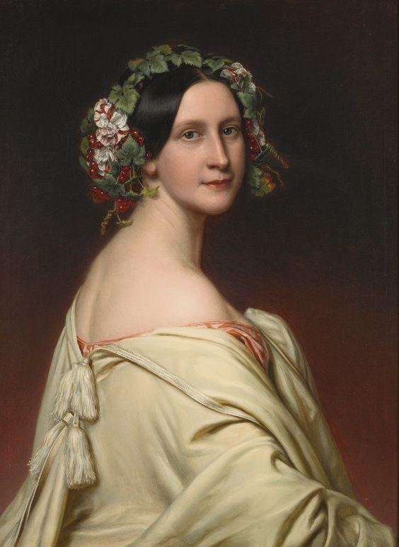 Joseph Karl Stieler, PORTRAIT OF CHARLOTTE BARONIN VON OVEN (1809 - 1891: