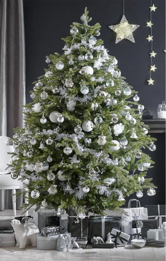 sapin blanc et argent les plus beaux sapins de no l noel pinterest arbres de no l. Black Bedroom Furniture Sets. Home Design Ideas