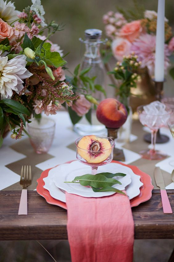 glam it up with some gold and peach! #weddingfavor #chevron #glamtastic http://www.weddingchicks.com/2013/12/13/peachy-keen-wedding/