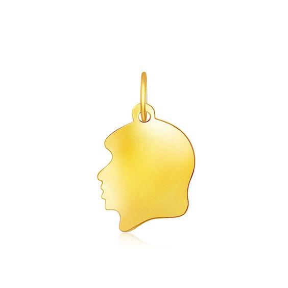 14K Yellow Gold Small Girl Head Charm