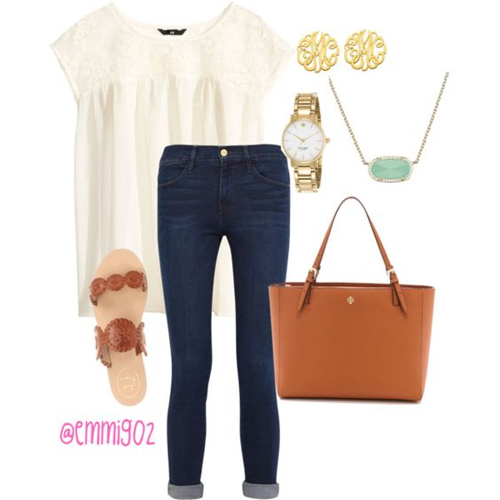 subtle, yet charming- Emily by southern-prep-girls on Polyvore featuring H&M, Frame Denim, Jack Rogers, Tory Burch, Kendra Scott, Allurez and Kate Spade