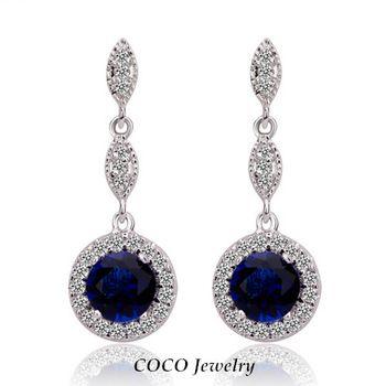 2014 Nova azul brincos de cristal por atacado moda de alta qualidade pingente banhado a ouro Meninas Wedding Jewelry CE205
