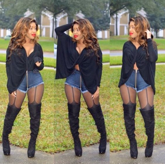 Sexy Shorts Outfit with Thigh High Boots | Winterfresh | Pinterest