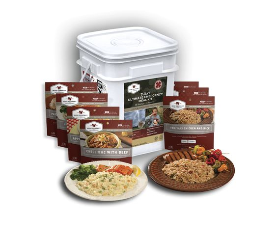 Ultimate Seven Day Emergency Meal Kit -Highlights  Real Meat USDA Approved  Made in the USA  Grab and Go Bug Out Bucket  Extended Shelf---Life  Also Great for Outdoor and Everyday Use  Just add boiling water directly into Pouch  Rehydration in 12 to 15 minutes  (no cook)  2,000+ Calories per day  100+ Grams of Protein per day