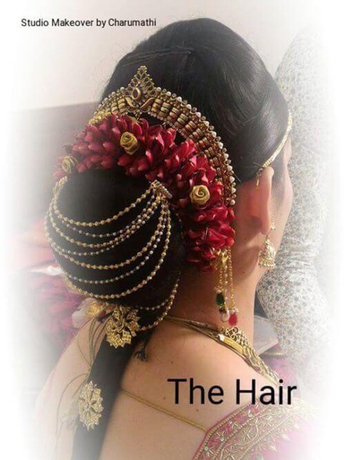 Traditional Garlanded Low Hair Bun Indian Bride Hairstyle Traditional Hairstyle Bridal Hair Accessories
