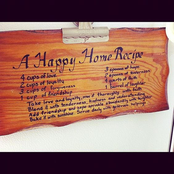 I've had this wooden plaque ever since I can remember and it's always hung in my kitchen. I love it :)