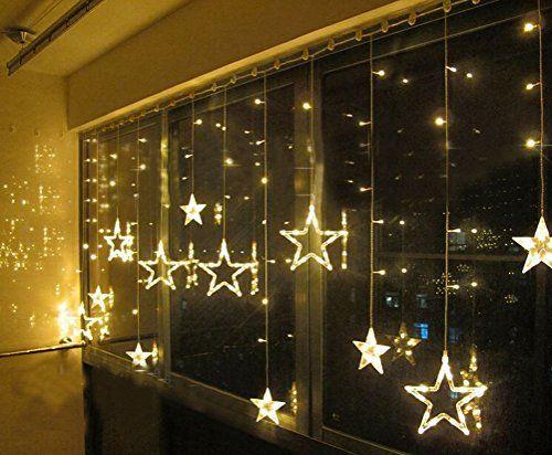SMITHROAD 169er LED Lichtervorhang Lichterkette Sterne Farbwechsel für Innen/Außen Fenster 2.5 x 1.2 m Warmweiß
