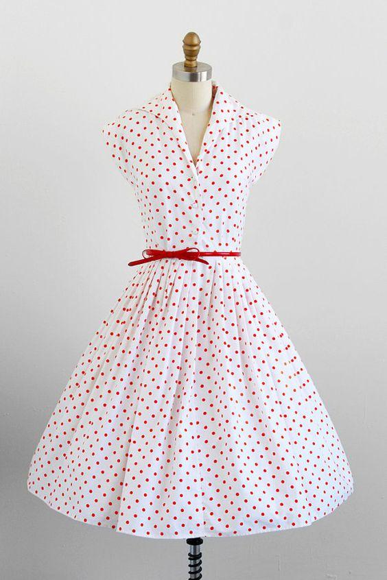 vintage 1950s dress / 50s dress / White and Orange Polka Dot Dress ...