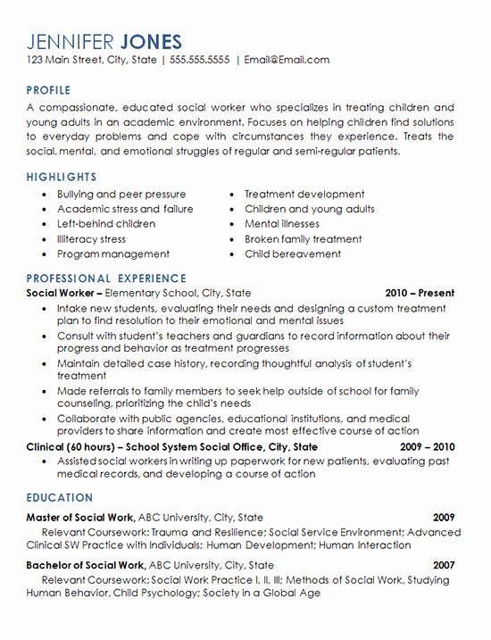 Social Workers Resume Examples Unique Social Worker Resume Example Elementary School Children In 2020 Resume Examples Resume Objective Statement Good Resume Examples
