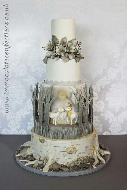 Wintery wedding cake