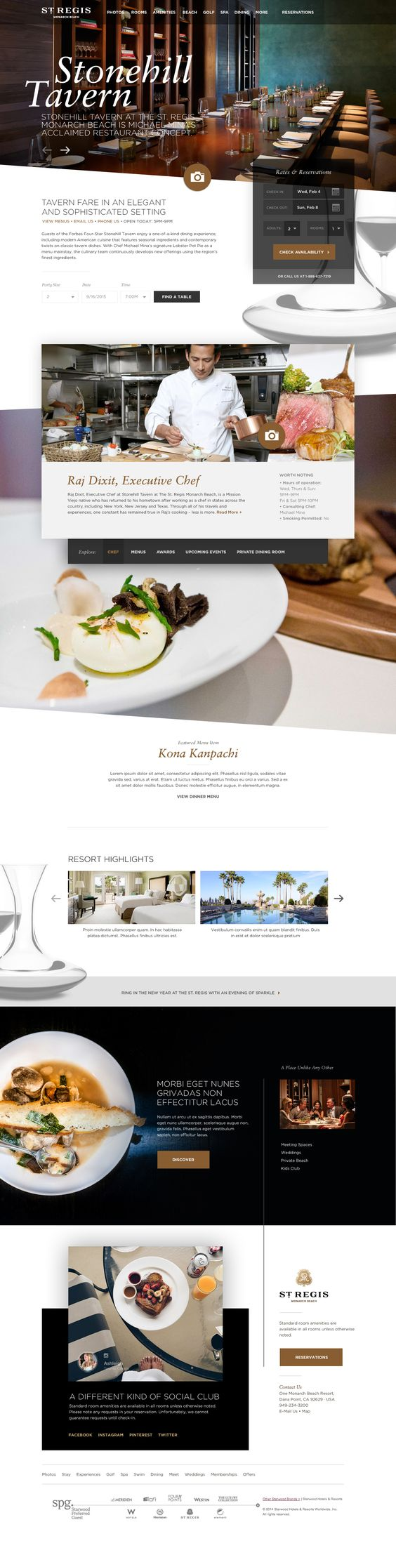 St. Regis Monarch Beach Resort Website on Behance