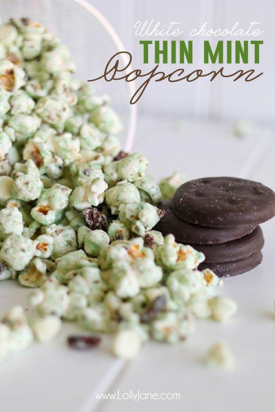 Yummy white chocolate thin mint popcorn!
