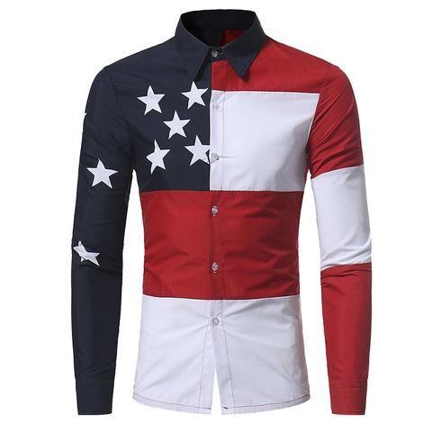 U S A American Flag Pattern Patchwork Shirts Brand Clothing Mens Dress Shirts Long Sleeve Slim Fit Casua Slim Fit Mens Shirts Mens Shirt Dress Men Shirt Style