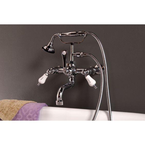 Bathroom Wall Mount Clawfoot Tub Faucet With Handshower Clawfoot