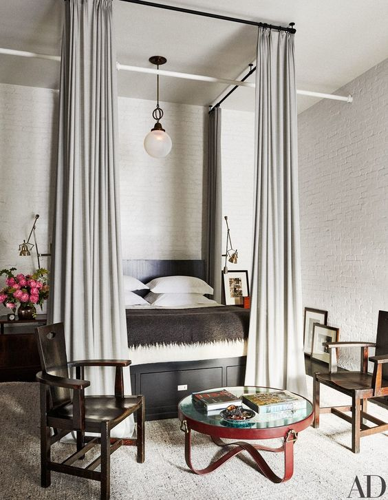 Meg Ryan's bedroom in an #industrialfarmhouse New York loft. #urbanfarmhouse