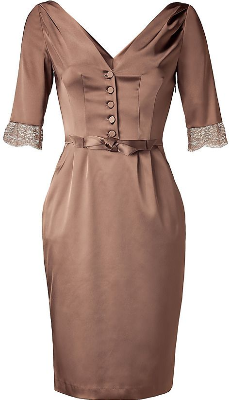 Vintage Taupe V-Neck Dress with Lace Detailing