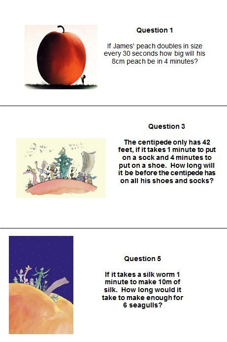 A Roald Dahl maths relay game - put pupils into groups and get them running back and forth to you, hopefully with the correct answers.