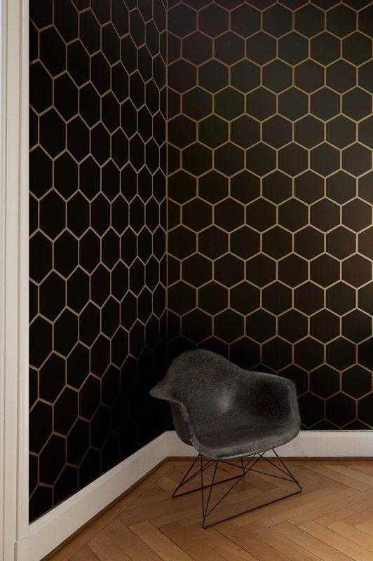 Hexagone tuile mur g om trique allover pochoir chambres for Mur geometrique